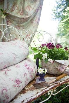Pink flower fabric & white wrought iron