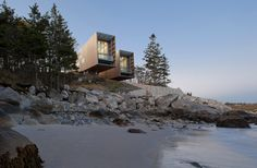 Two Hulls House View Cantilevered Two Hulls House Overlooking the Sea in Nova Scotia, Canada