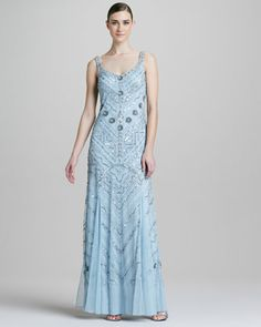 LOVE: Aidan Mattox Beaded Scoop-Neck Chiffon Gown - Neiman Marcus