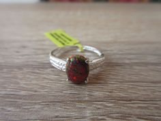 Lab Created Black Opal Ring Sterling Silver Size 7
