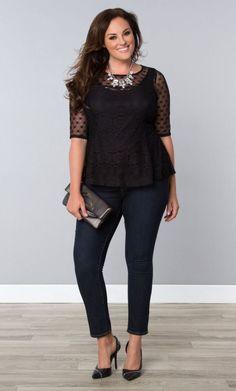 Plus Size Feminine Frills Lace Top                                                                                                                                                     More