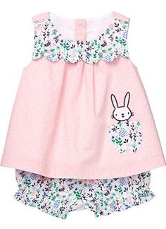 Sewing Baby Girl Baby Petal Pink Bunny Dot Set by Gymboree Newborn Girl Outfits, Cute Baby Girl Outfits, Toddler Outfits, Kids Outfits, Cute Little Girl Dresses, Baby Girl Dresses, Baby Dress, Baby Girls, Easter Outfit For Girls