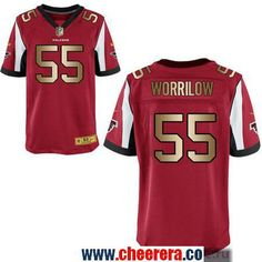 Men's Atlanta Falcons #55 Paul Worrilow Red With Gold Stitched NFL Nike Elite Jersey