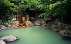 Japan: Baths of Kurokawa's enchanted forest.  Kurokawa onsen is a little spa village in a steep-sided valley Photo: Alamy.