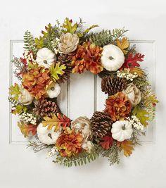 Blooming Autumn Hydrangea, Pinecone, Pumpkin, Berry