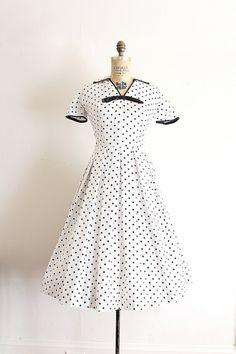 polka dot cotton day dress with full skirt c. 1950s