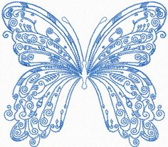 """Vintage Butterfly free machine embroidery design 6.21 x 5.50"""""""