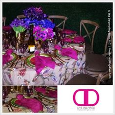 Autumn Purples & Blues Inspired Table Décor with Hot Pink & Green Settings | The Decorating Diva, LLC