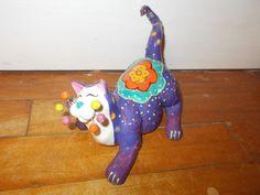 Whimsiclay 2006 Meowzette by Amy Lacombe Purple Cat Figurine 86171 | eBay