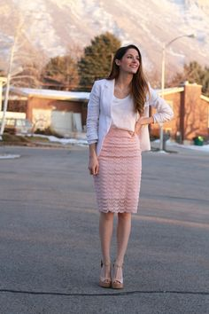 Tutorial for pencil skirt with a sheer lace overlay. Love how simple it is to make.