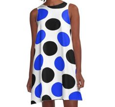 Black and Blue Dots A-Line Dresses