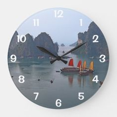 Sailboats in Ha Long Bay - Vietnam Asia Large Clock Travel Wall Decor, Ha Long Bay, Large Clock, Sailboats, Clocks, Keep It Cleaner, Holiday Cards, Vietnam, Asia
