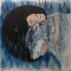 """Greeting card, wolf design, Lucy Campbell cards """"Wolf Mother"""""""
