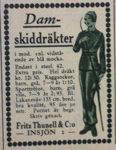 """Annons för skiddräkter för dam från Fritz Thunell & Co i Insjön, """"Husmodern"""" 1934 // Ad for women's ski suits from Fritz Thunell & Co"""