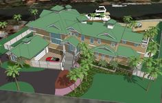 Aerial view of the house in sketchup