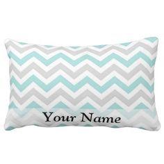 Aqua and gray chevron pattern throw pillow