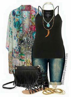 Plus Size - Kimono Jacket by alexaw. The other items aren't my style. Curvy Girl Fashion, Fashion Mode, Look Fashion, Plus Size Fashion, Womens Fashion, Fashion Trends, Fashion Stores, Classy Fashion, Petite Fashion