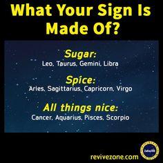 what you zodiac sign is made of ? sugar, spice, all things nice, aries, taurus, gemini, cancer, leo, virgo, libra, scorpio, sagittarius, capricorn, aquarius, pisces