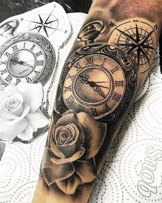 55 Mejores Imágenes De Tatuaje Rosa Y Reloj En 2018 Mangas