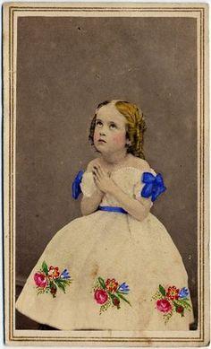 Young Girl Praying Hand Colored Flowing Locks CDV | eBay