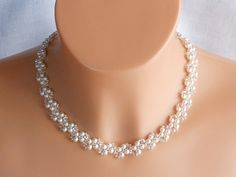 Bridal jewellery set,wedding jewellery,jewellery for bride. Pearls are white.  Necklace length 40-41 cm.   Bracelet length 18.8-19.2 cm.  If you need necklace and bracelet in different...