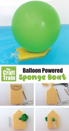 Make a balloon powered boat to use in the bath or outdoors this summer. This is a great way for kids to learn about energy and makes a fun STEM craft idea.   #stem #craft #balloon #balloonpower #kidscrafts #boats #sponges #summer #science #steam #sciencefun #experiments #thecrafttrain