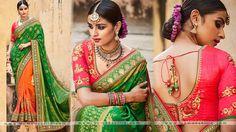 Vintage Green And Orange Colored Jacquard Designer Saree   #InternationalWomensDay #style #fashion #Ethnicwear #SareeOnline #lookbook #Holi #HoliFashion #saree #Onlineshopping #WomansVilla