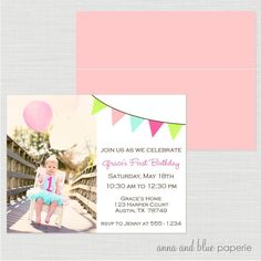 Custom Color Splash Photo #Invitation - PRINTABLE diy invitation Birthday Party or Baby Shower by anna and blue paperie via Etsy