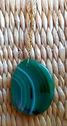 long s dot jewelry gold necklace with green agate slice pendant, white jade and green turquoise accent beads!