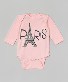 Another great find on #zulily! Initial Request Pink & Black 'Paris' Personalized Bodysuit - Infant by Initial Request #zulilyfinds
