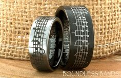 CUSTOMIZED TUNGSTEN MUSIC WEDDING BAND WITH YOUR FAVORITE SONG
