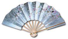 Silk Japanese Hand fan (Light blue) Folding fan Yukata