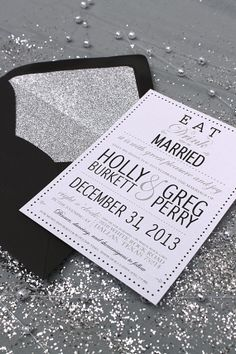 Eat, Drink and Be Married - Modern Glamourous Wedding Invitation - Black White Silver Modern Wedding Eat Drink Be Married