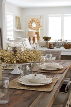 Easy Summer to Fall Dining Room Decorating Ideas - Transitional Farm Table Setting, Farmhouse Autumn with Neutral Natural Textures - Tableware, wreaths and accents from HomeGoods. sponsored pin
