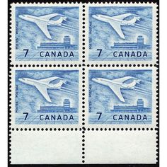1964 CANADA SCOTT #414 MINT MNH STAMP BLOCK, 7 CENTS JET PLANE AT OTTAWA AIRPORT. Buy it on eBid Canada | 151874229