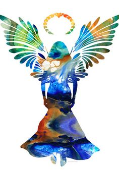 Healing Angel Print from Painting Colorful Angels Heavenly Heaven Love God CANVAS Ready To Hang Large Artwork Jesus Church Art