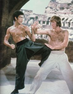 """bruce lee and chuck norris in the movie """"Way of the Dragon"""""""