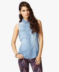Southwestern-Embroidered Chambray Shirt | FOREVER21 - 2047901976