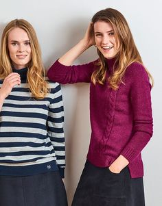 Women's Turtle Neck Cable Jumper in Boysenberry from Crew Clothing