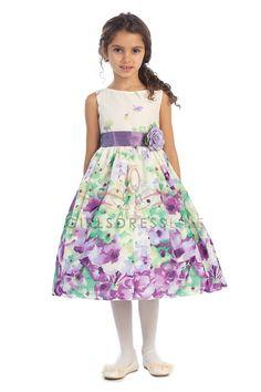 Fine Cotton Flower Printed Flower Girl Dress K303-LV2 $38.95 on www.GirlsDressLine.Com