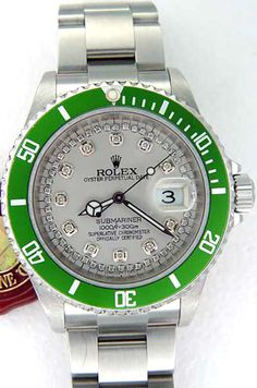 Rolex Submariner Steel Green Bezel & Silver String Diamond Dial #Rolex #Dress