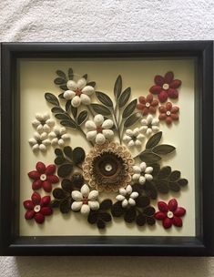 Best 12 Hand made quilled picture, on a cream background paper enclosed in a 12 by 12 shadow box frame. The design is all made out of paper in which it makes it 3 dimensional. Colors include cream, beige, browns, rust and Crimson. Paper Quilling Patterns, Quilled Paper Art, Quilling Paper Craft, Quilling Designs, Paper Crafts, Pine Cone Art, Pine Cone Crafts, Flower Wall Decor, Flower Decorations