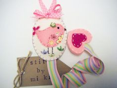 Felt Hair clip holder bird applique by Miki by MikiStitch on Etsy, $15.00