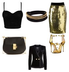 """Night Out"" by danabeauty101 ❤ liked on Polyvore featuring Moschino, Chloé, Giuseppe Zanotti, Balmain and Vita Fede"