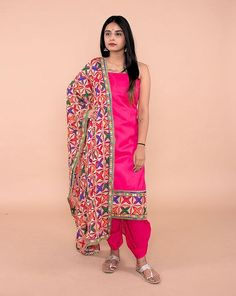 Explore Unstitched Suits, Salwar Suits in Hand Block, Lucknowi Chikan, Phulkari & more variety. Shipping in India, US & UAE among many other counties! Phulkari Suit, Patiala Suit, Punjabi Suits, Salwar Suits, Indian Dresses, Indian Outfits, Indian Wear, Suits For Women, Kurti
