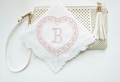 Irish Claddagh Cluny Lace Handkerchief, Monogrammed Heart Design Handkerchief, Valentine's Day Handkerchief, Wedding Handkerchief