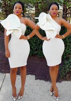 White Irregular Ruffle One-shoulder Bodycon Prom Evening Party Midi Dress