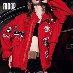 2016 New embroidery patch designs denim jacket women casual coat stud decor veste cuir femme abrigos mujer croped feminino LT878