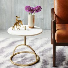 $199 (Black or white) Modernist Handle Side Table – Marble   west elm