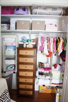 Alternative to Elfa shelving in nursery closet. Nursery Closet Organization, Dresser Organization, Organization Ideas, Elfa Shelving, Shelves, Kid Closet, Closet Ideas, Pink And Gray Nursery, Baby Clothes Storage